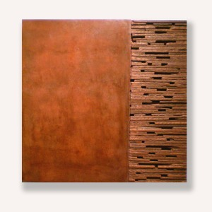 Red Oxide and Wood. mixed media 24 x 24